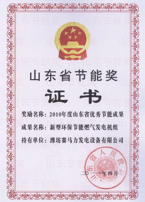Shandong Province Energy Saving Award Certificate