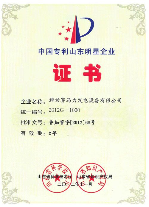 China Patent Shandong Star Enterprise Certificate