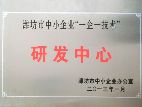 """Weifang city SME """"one company one technology""""R&D center"""